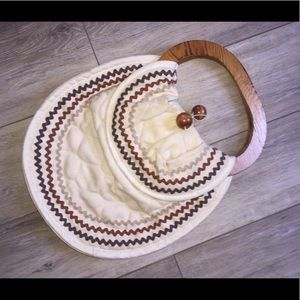 Boho, hippy purse or bag canvas w/ wooden accents!